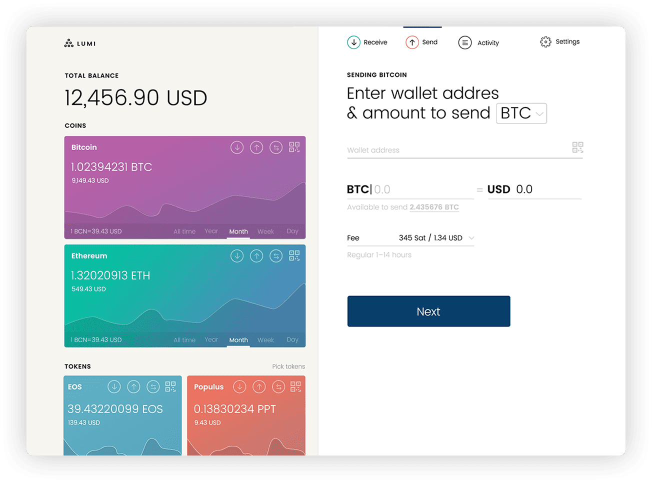 lumi example of crypto wallet on the web