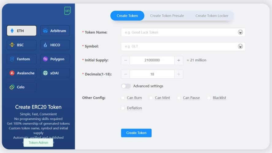app UI for creating cryptocurrency token